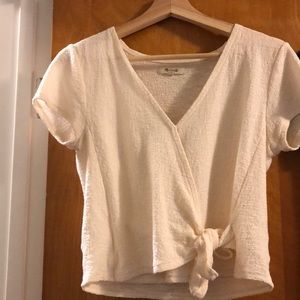 Madewell white wrap blouse